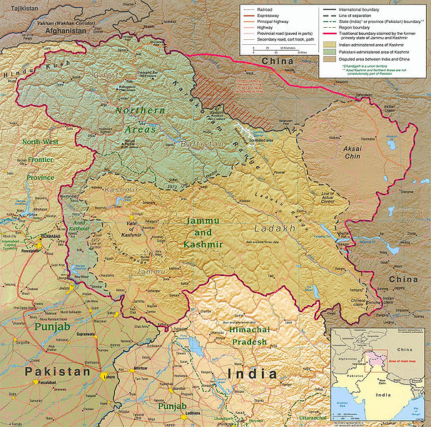 A map of the Kashmir region from 2004