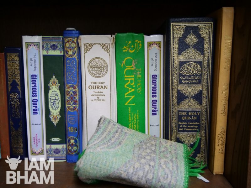 Copiues of Islamic and Arbic books, including the Qur'an, at Birmingham Central Mosque