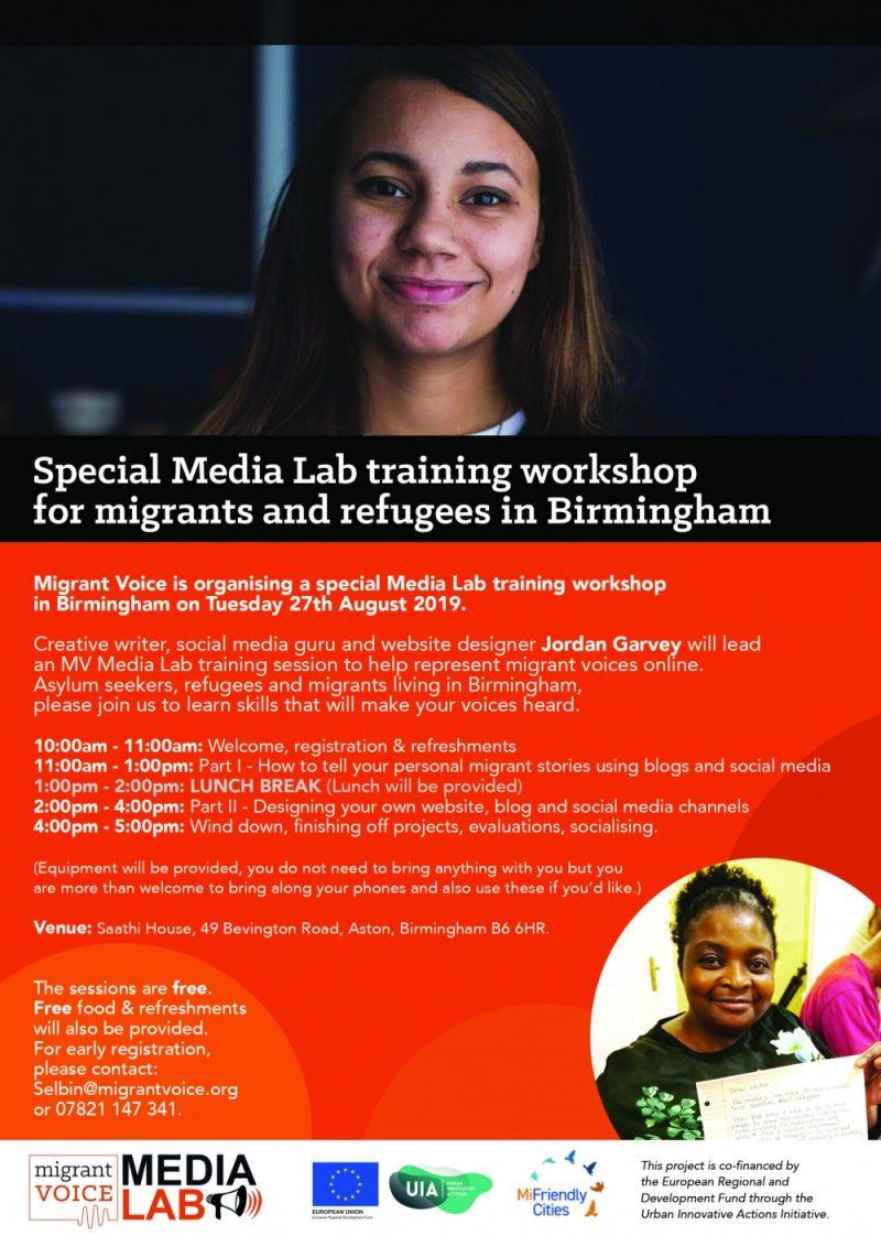 Migrant Voice Media Lab in August 2019 with Jordan Garvey