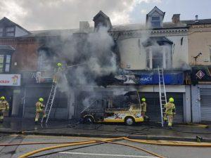 Ice cream van fire sets alight local high street store in Smethwick