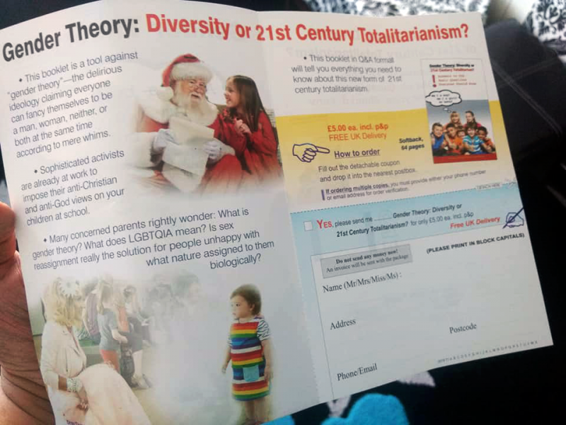 "The conservative Christian leaflet describes gender theory as ""delirious"""