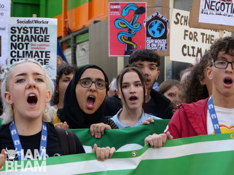 Hundreds of Climate Strike protesters marching through Birmingham city centre in 2019