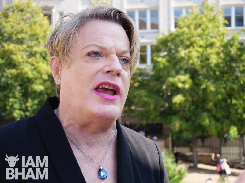 Comedian and activist Eddie Izzard at the Climate Strike protest in Birmingham