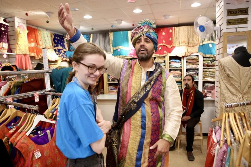 Actor Vimal Korpal as the  Maharaja in a sari store