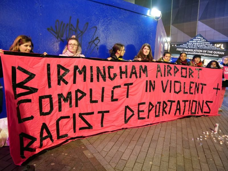 A protest held in Birmingham in February against state deportations of Jamaican nationals