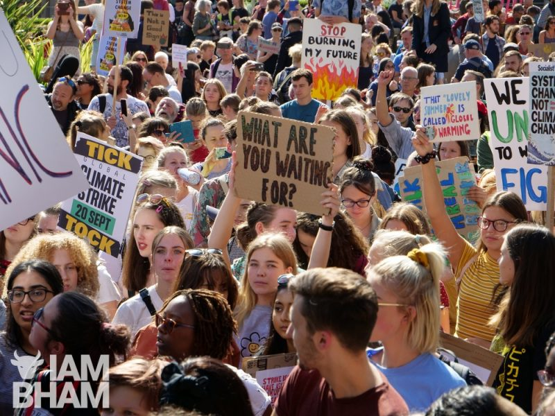 Hundreds of climate strike protesters in Birmingham's Victoria Square in 2019
