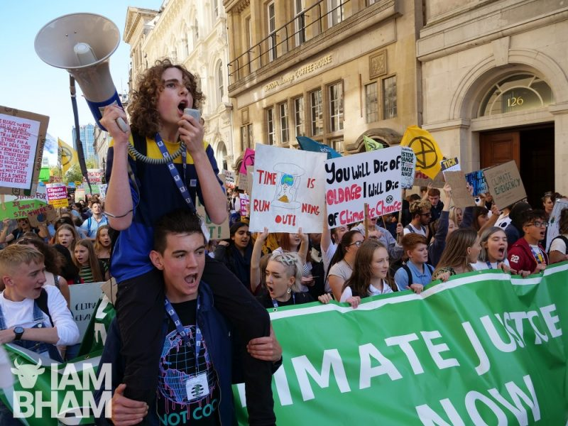 Climate strike protesters marching in Birmingham city centre in 2019
