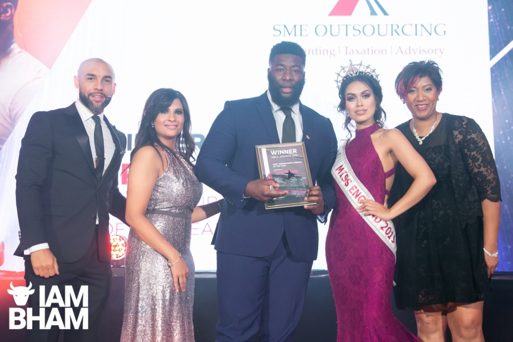 (L-R): Alex Beresford, Craig Pinkney, Miss England 2019 Dr Bashna Mukherjee, and Trish Adudu