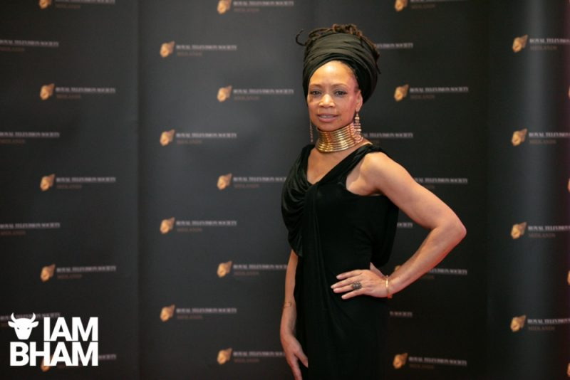 Stars on the red carpet at the Royal Television Society Midlands Awards, in Birmingham. UK. 29th November 2019 Poet and documentary presenter Sue Brown