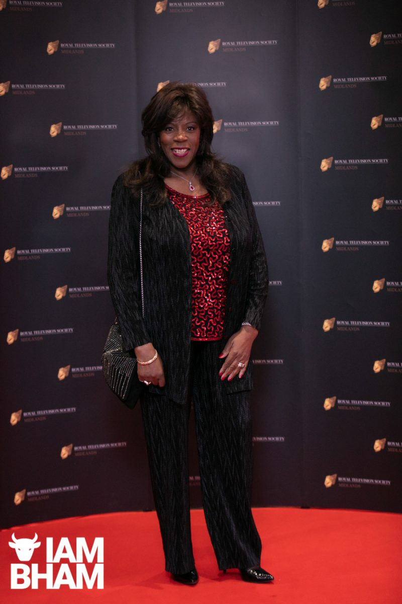 Stars on the red carpet at the Royal Television Society Midlands Awards, in Birmingham. UK. 29th November 2019 Musician and singer Jaki Graham