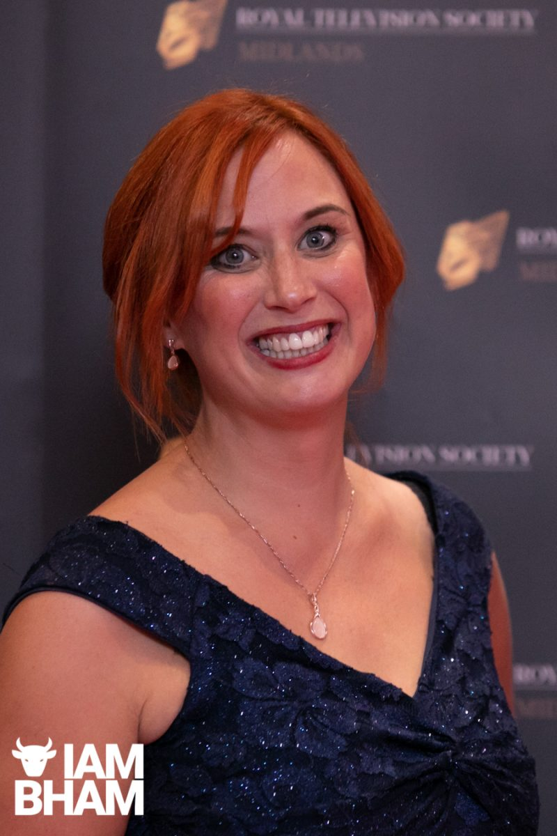 Stars on the red carpet at the Royal Television Society Midlands Awards, in Birmingham. UK. 29th November 2019 Dr Sarah Jones from BCU @virtualsarahj