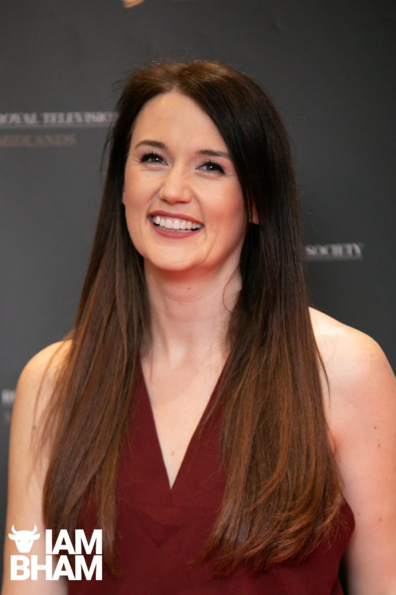 Stars on the red carpet at the Royal Television Society Midlands Awards, in Birmingham. UK. 29th November 2019 BBC Midlands Today Presenter Rebecca Wood