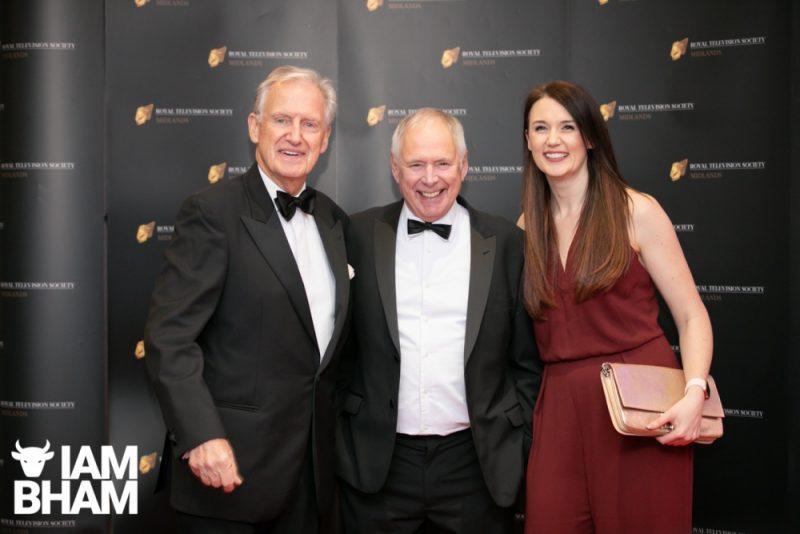 Stars on the red carpet at the Royal Television Society Midlands Awards, in Birmingham. UK. 29th November 2019 Bob Warman, Nick Owen and Rebecca Wood