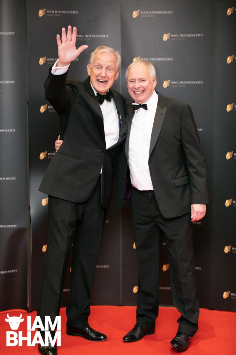Stars on the red carpet at the Royal Television Society Midlands Awards, in Birmingham. UK. 29th November 2019 News presenters Bow Warman and Nick Owen