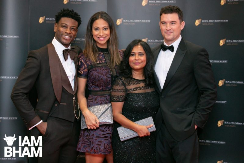 Stars on the red carpet at the Royal Television Society Midlands Awards, in Birmingham. UK. 29th November 2019 The BBC Doctors cast including Bharti Patel and Laura Rollins