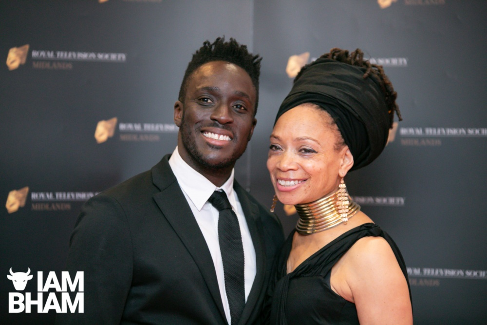 Stars on the red carpet at the Royal Television Society Midlands Awards, in Birmingham. UK. 29th November 2019 BBC presenters Ayo Akinwolere and Sue Brown