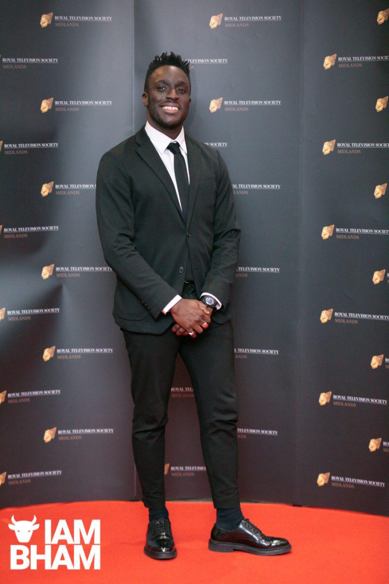 Stars on the red carpet at the Royal Television Society Midlands Awards, in Birmingham. UK. 29th November 2019 BBC presenter Ayo Akinwolere