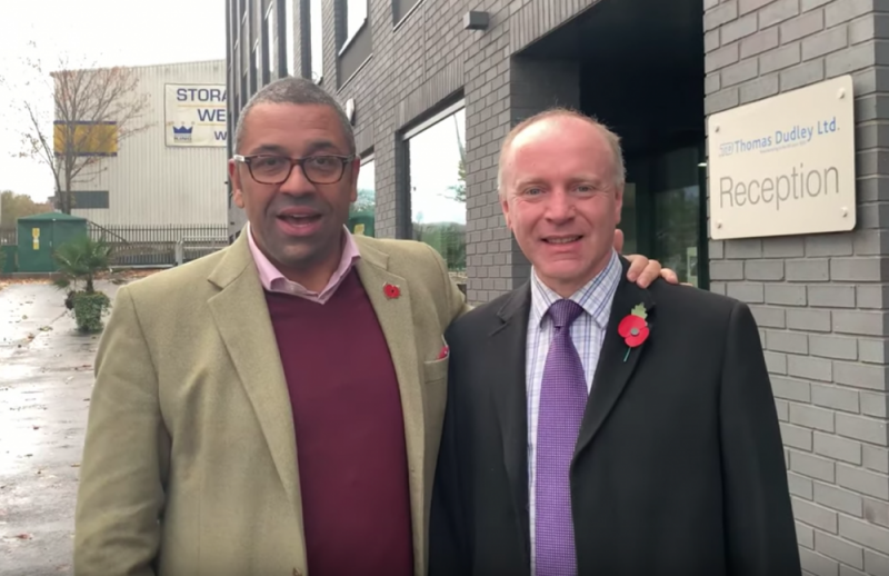 Conservative candidate for Dudley North Marco Longhi (right) standing beside James Cleverly