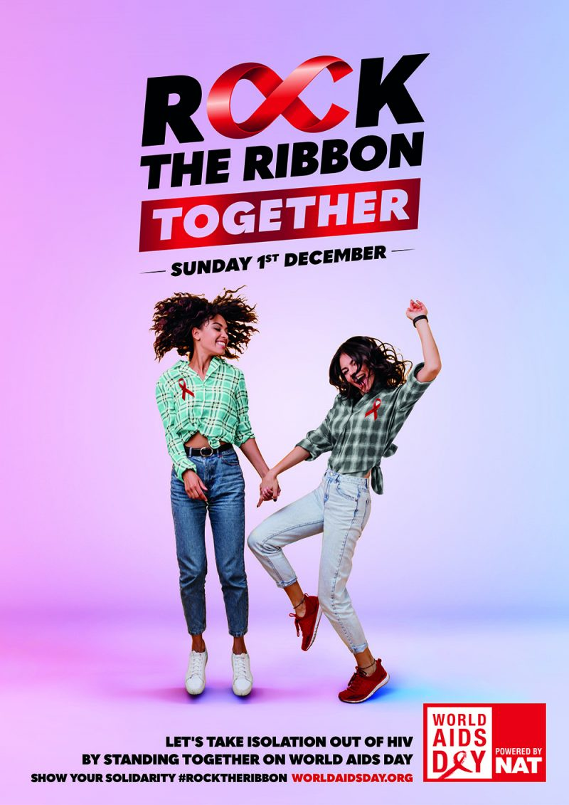 A poster promoting the 'Rock The Ribbon' campaign for this year's World Aids Day