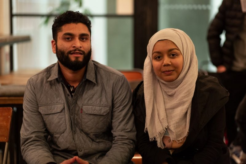 Audience members Sadiq and Shakia at York's Cafe in Birmingham