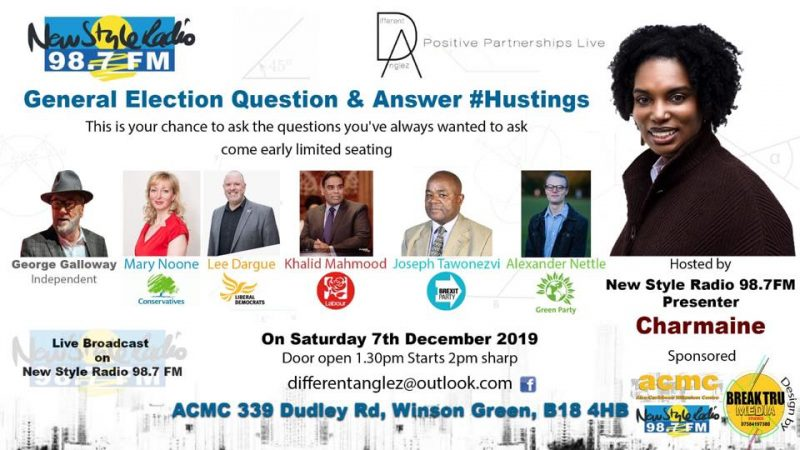 George Galloway and Khalid Mahmood are amongst the guests attending the New Style Radio hustings