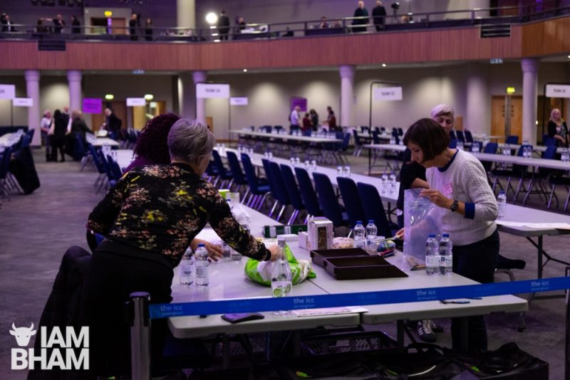 Tables being set up for the official General Election 2019 vote count in Birmingham