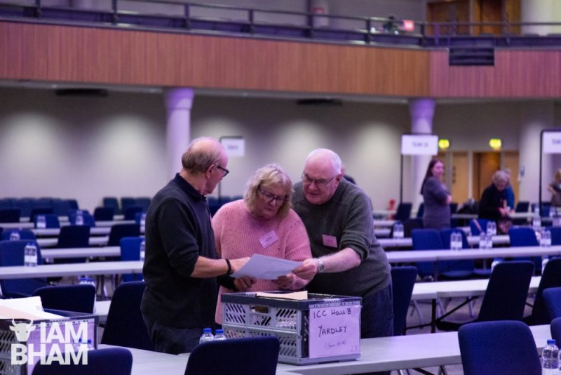Organisers setting up for vote counting at the ICC in Birmingham