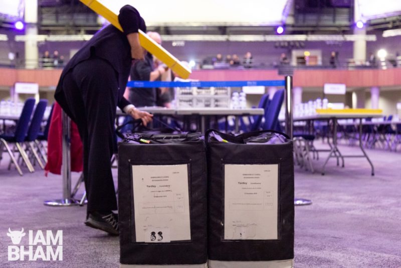 Postal votes are all ready for counting at the ICC in Birmingham
