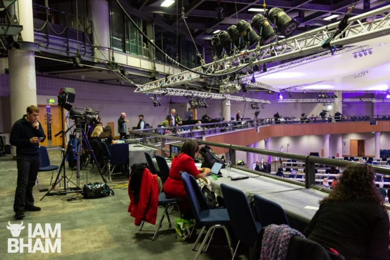Press and media teams set up at the ICC Birmingham ahead of General Election 2019 results coming in