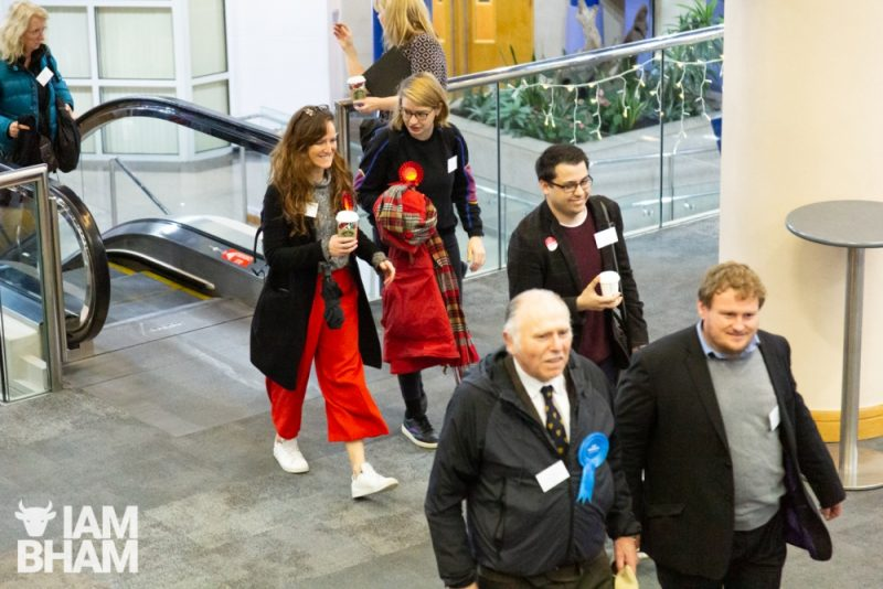 Representatives from different political parties arriving at the General Election 2019 count at the ICC in Birmingham
