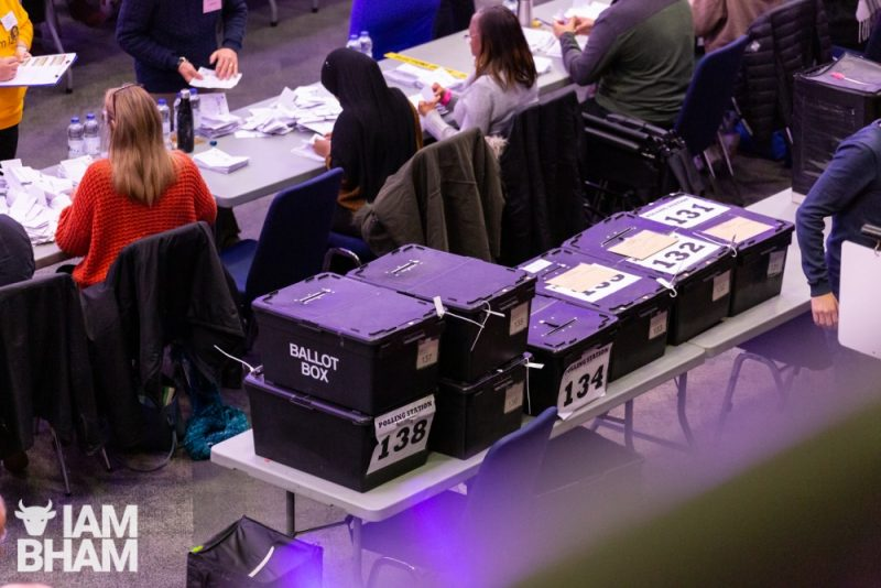 Ballot boxes at the ICC in Birmingham