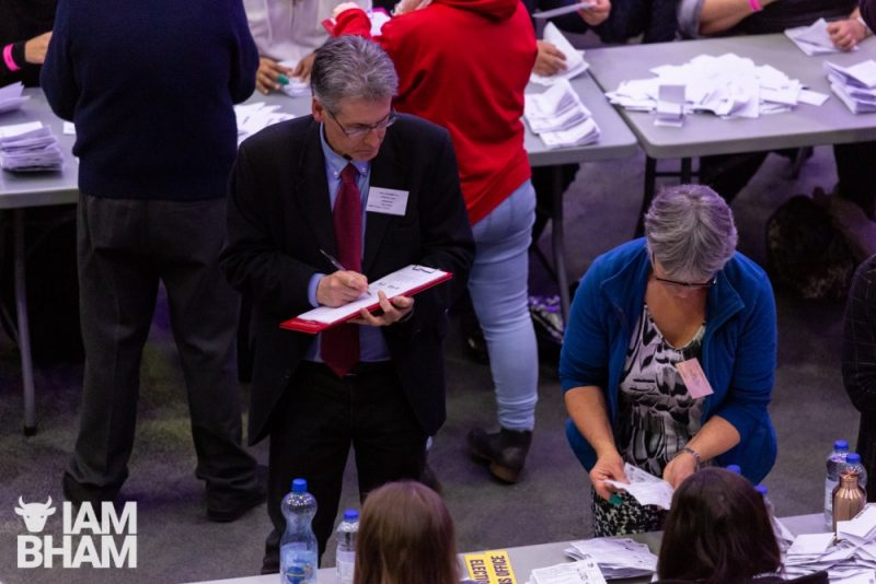 Labour's candidate for Police and Crime Commissioner Simon Foster at the General Election count in Birmingham