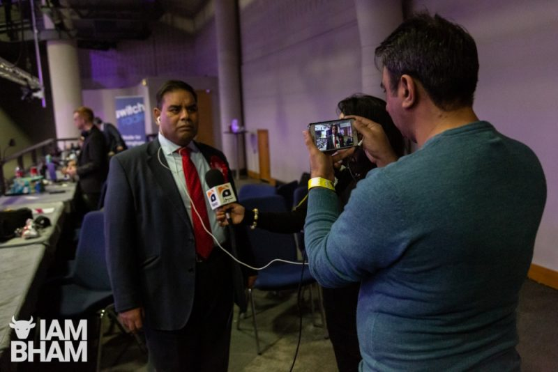 Khalid Mahmood being interviewed at the ICC during the General Election vote count