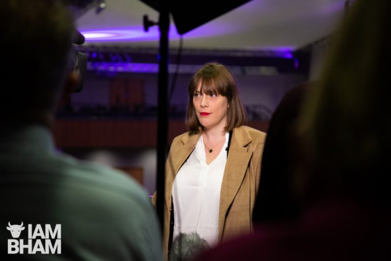 Jess Phillips speaks to the press at the Birmingham ICC