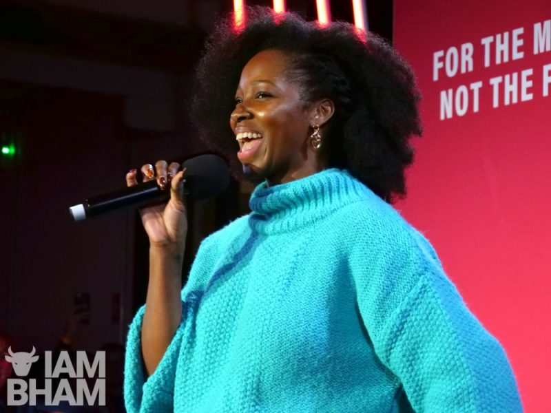 Jamelia addressed the large crowd at the Labour election rally in Digbeth last night
