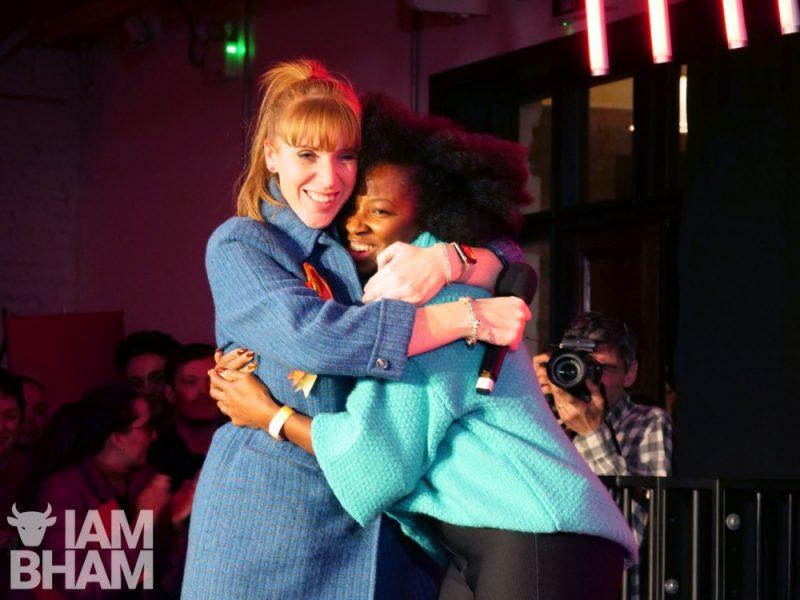Handsworth mum-of-three Jamelia is hugged by Labour shadow minister Angela Rayner