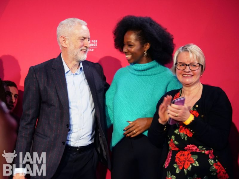 Music star Jamelia at the Birmingham rally with Labour leader Jeremy Corbyn