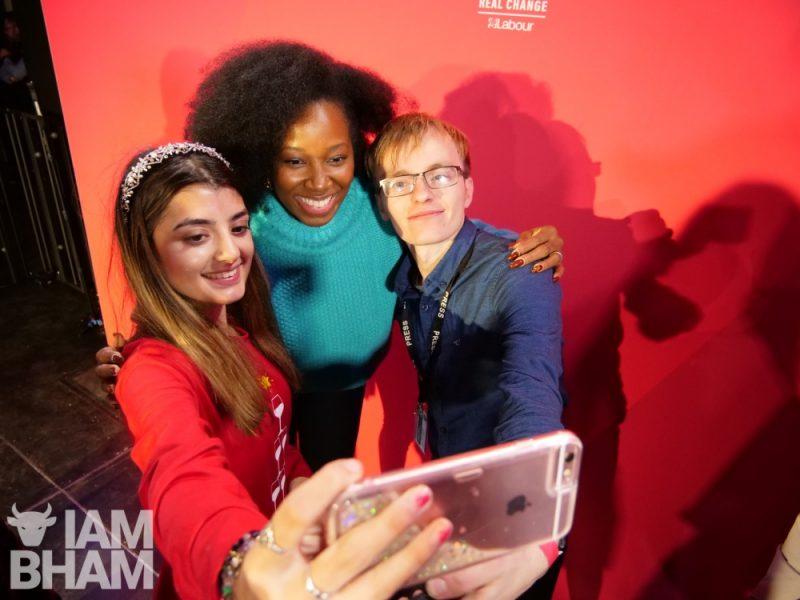 Music artist and TV presenter Jamelia with fans in Birmingham