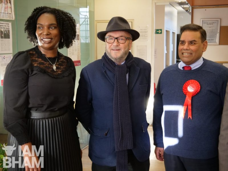 (L-R): Charmaine Burton, George Galloway and Khalid Mahmood in Birmingham
