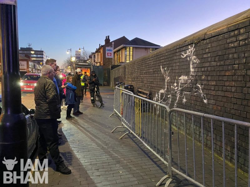 The Banksy homelessness street art has appeared in Vyse Street in Birmingham's Jewellery Quarter district