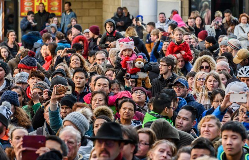 Crowds enjoying Chinese New Year celebrations in Birmingham in 2019