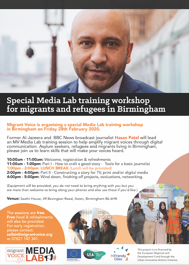 Promotional flyer for the MiFriendly Cities Media Lab from Migrant Voice with journalist Hasan Patel