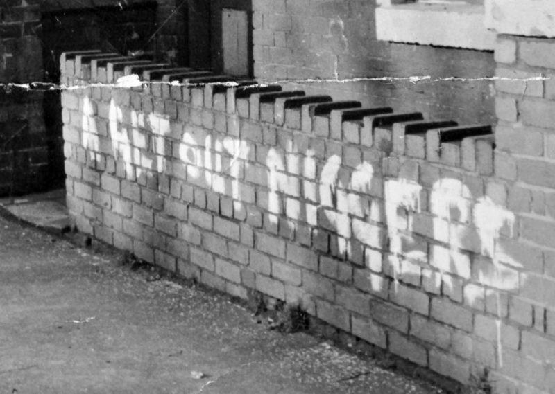 Racist graffiti scrawled on a wall on Victoria Road in Smethwick, in 1962