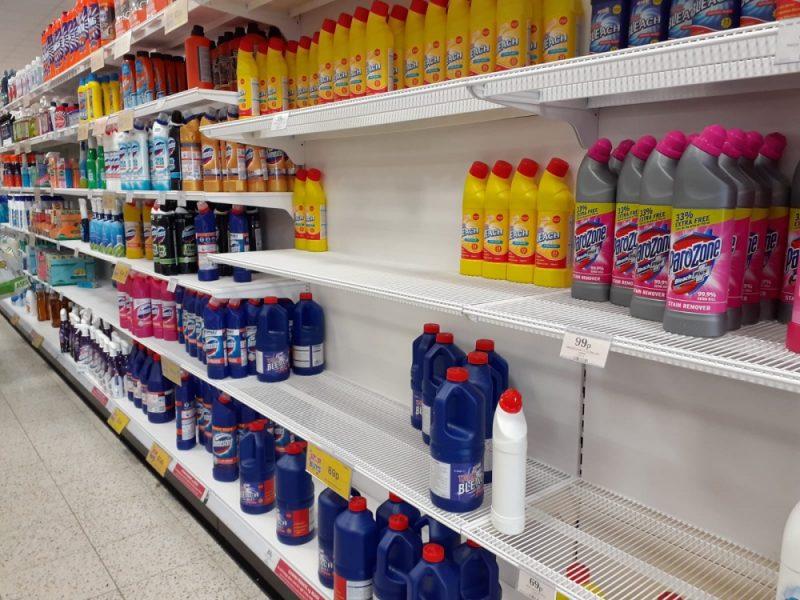 Bare shelves at Home Bargains in Birmingham amid coronavirus panic buying