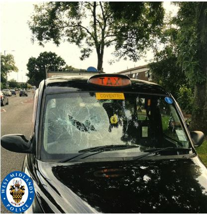 Asif Khan smashed the windows of this taxi during one of his robberies