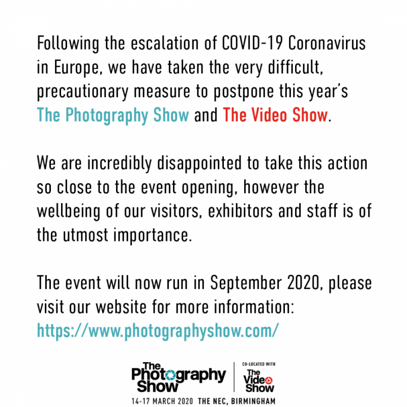 A statement issued by The Photography Show about cancelling their event due to the COVID-19 Coronavirus outbreak