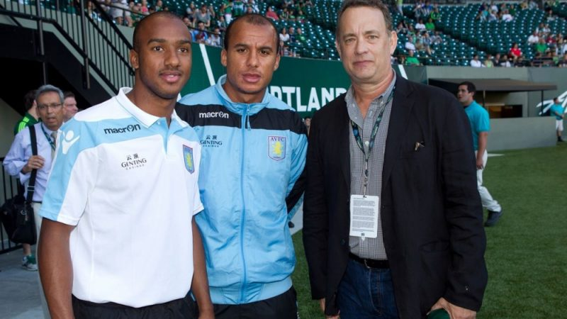 Gabriel Agbonlahor poses with Hollywood actor and AVFC fan Tom Hanks, who coincidentally is also self-isolating after contracting coronavirus