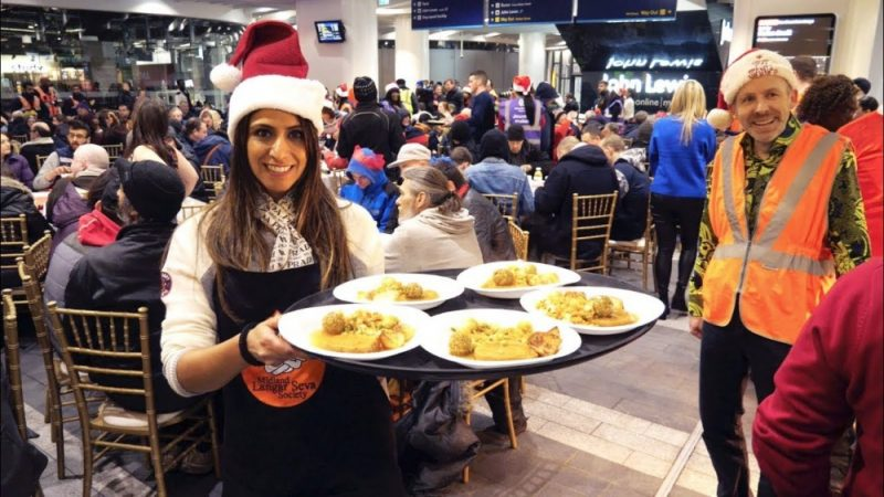 Midland Langar Seva Society hosting a Christmas dinner for the homeless at New Street Station