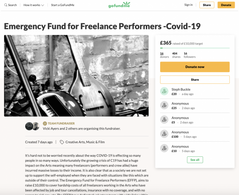 Vikki MacWinyers and colleagues have launched a GoFundMe fundraiser to help freelance performers