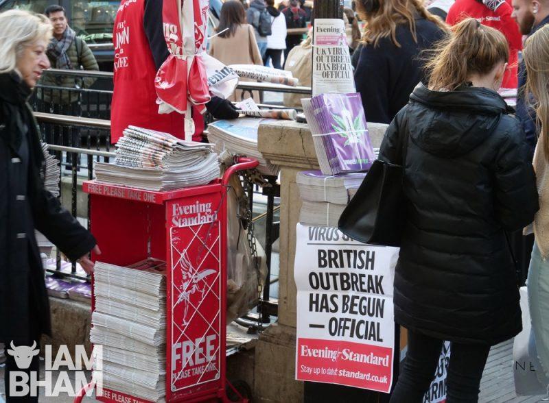 UK coronavirus outbreak news Evening Standard newspaper in London on 06.03.20 by Adam Yosef